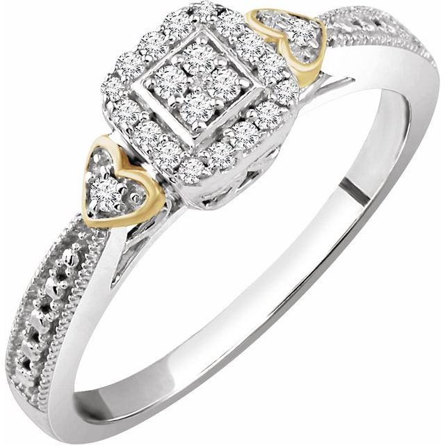 10K White & Yellow 1/6 CTW Diamond Promise Ring