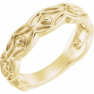 14K Yellow Scalloped Geometric Ring