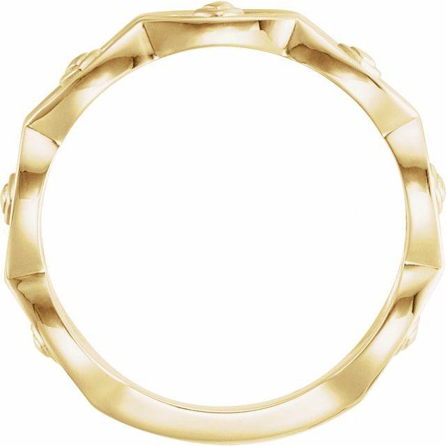 14K Yellow Scalloped Geometric Ring