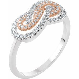 14K White & Rose 1/5 CTW Diamond Infinity-Inspired Ring
