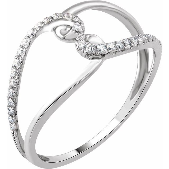 14K White 1/8 CTW Diamond Negative Space Ring