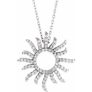 "14K White 3/8 CTW Diamond Beaming Sun 16"" Necklace"