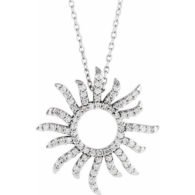 14K White 3/8 CTW Diamond Beaming Sun 16