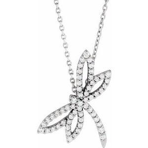 "14K White 1/3 CTW Diamond Dragonfly 16"" Necklace"