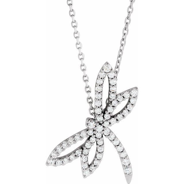 14K White 1/3 CTW Diamond Dragonfly 16