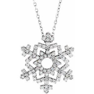 "14K White 1/3 CTW Diamond Snowflake 16"" Necklace"