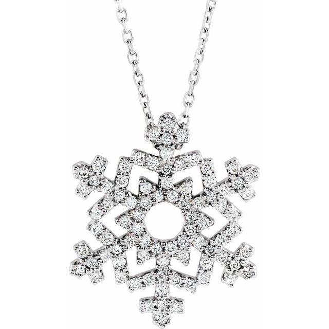 14K White 1/3 CTW Diamond Snowflake 16