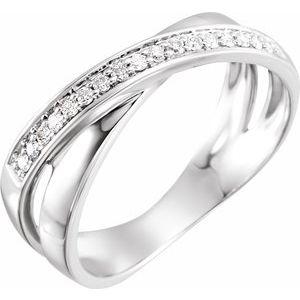 14K White 1/6 CTW Diamond Criss-Cross Ring Size 7