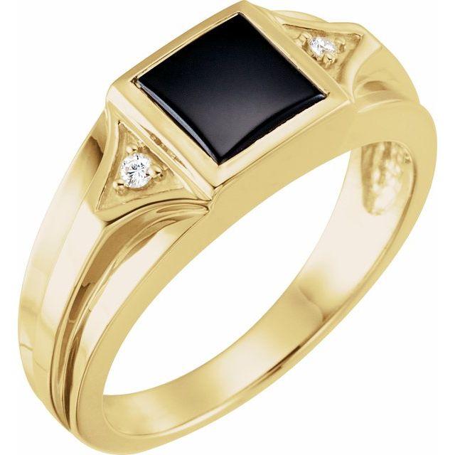 14K Yellow Onyx & .04 CTW Diamond Bezel-Set Ring