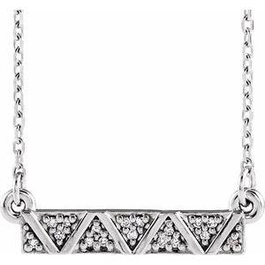 "14K White .05 CTW Diamond Geometric Bar 16-18"" Necklace"