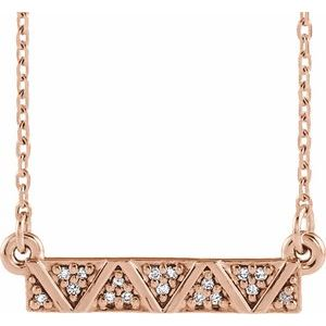 "14K Rose .05 CTW Diamond Geometric Bar 16-18"" Necklace"