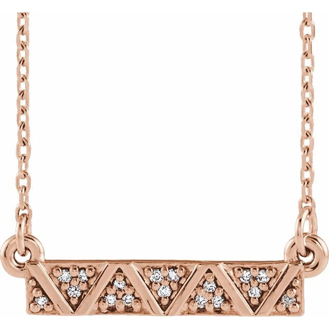 14K Rose .05 CTW Diamond Geometric Bar 16-18