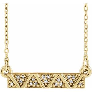 "14K Yellow .05 CTW Diamond Geometric Bar 16-18"" Necklace"