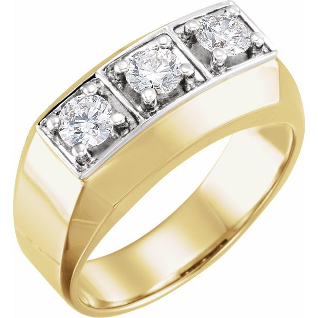 14K Yellow & White 1 CTW Diamond Men-s Ring