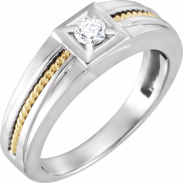 14K White/Yellow 1/4 CTW Diamond Rope Ring