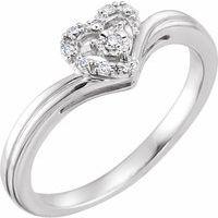 10K White .06 CTW Diamond Heart Promise Ring