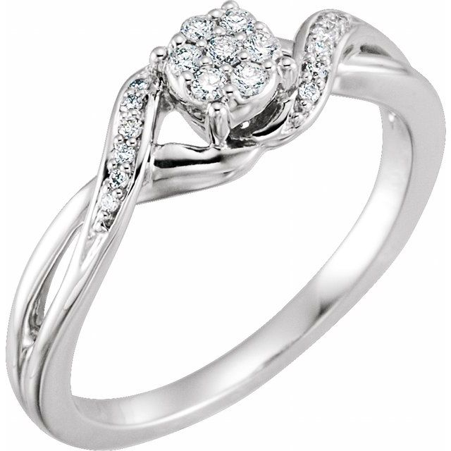 10K White 1/8 CTW Diamond Cluster Promise Ring