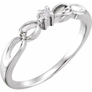 14K White .03 CT Diamond Heart Ring