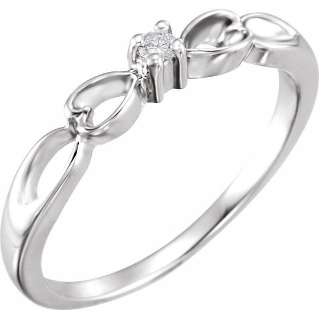 14K White .03 CT Diamond Heart Ring