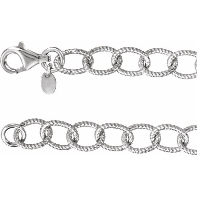 Sterling Silver Knurled Cable 18