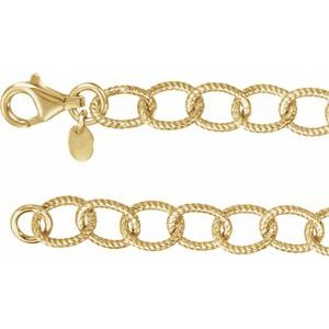 "24K Yellow Vermeil 8 mm Knurled Cable 18"" Chain"