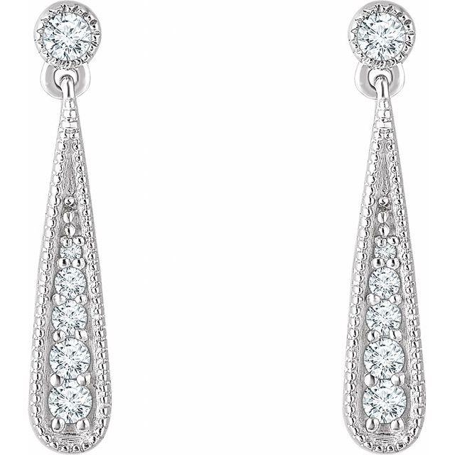 14K White 1/6 CTW Diamond Teardrop Earrings