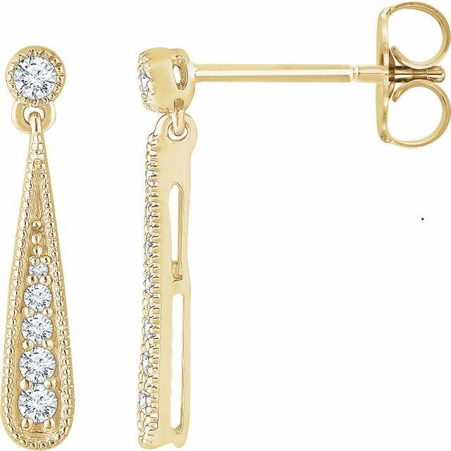 14K Yellow 1/6 CTW Diamond Teardrop Earrings