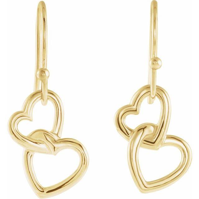 14K Yellow 25.5x9.5 mm Interlocking Heart Earrings