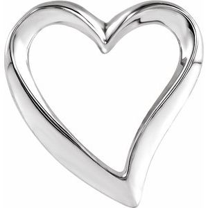14K White Heart Slide Pendant