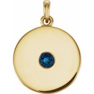 14K Yellow Sapphire Disc Pendant