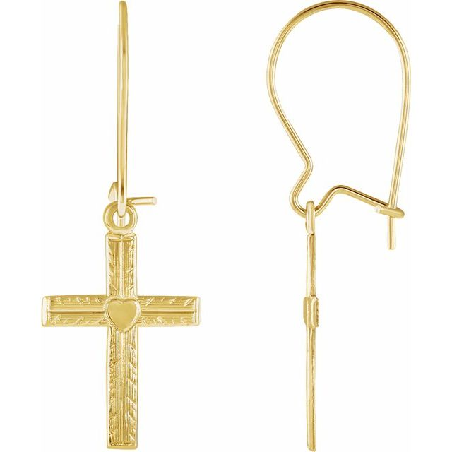 14K Yellow 13x10 mm Heart Design Cross Earrings