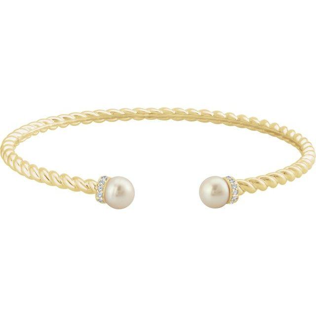 14K Yellow Freshwater Cultured Pearl & 1/10 CTW Diamond Cuff Bracelet