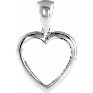 14K White 15x10 mm Open Heart Pendant