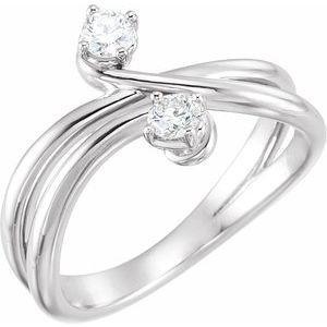 14K White 1/4 CTW Diamond Two-Stone Ring