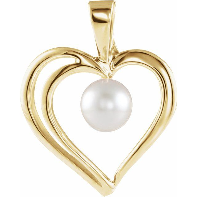 14K Yellow Akoya Cultured Pearl Heart Pendant