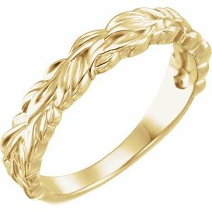 14K Yellow Stackable Leaf Ring