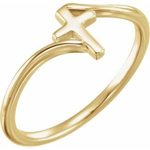 14K Yellow Cross Bypass Ring