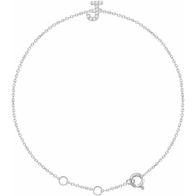 14K White .05 CTW Diamond Initial J 6-7