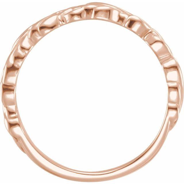 14K Rose Stackable Leaf Ring