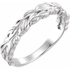 14K White Stackable Leaf Ring