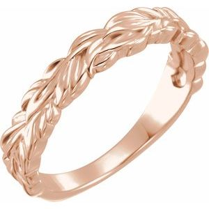 14K Rose Stackable Leaf Ring