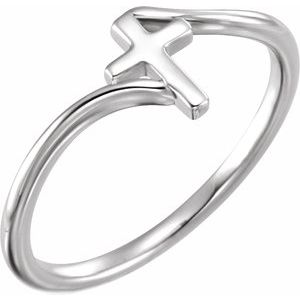 14K White Cross Bypass Ring