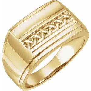 14K Yellow 17x13 mm Rectangle Signet Ring