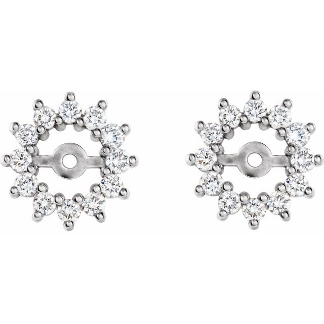 14K White 3/8 CTW Diamond Earring Jackets with 4.2mm ID