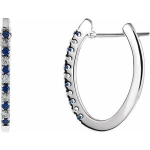 14K White 1/5 CTW Sapphire & Diamond Hoop Earrings