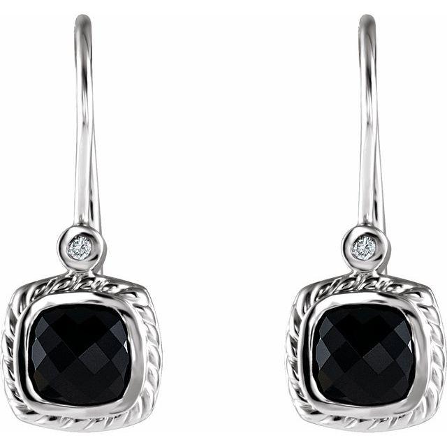 14K White Onyx & .03 CT Diamond Rope Design Earrings