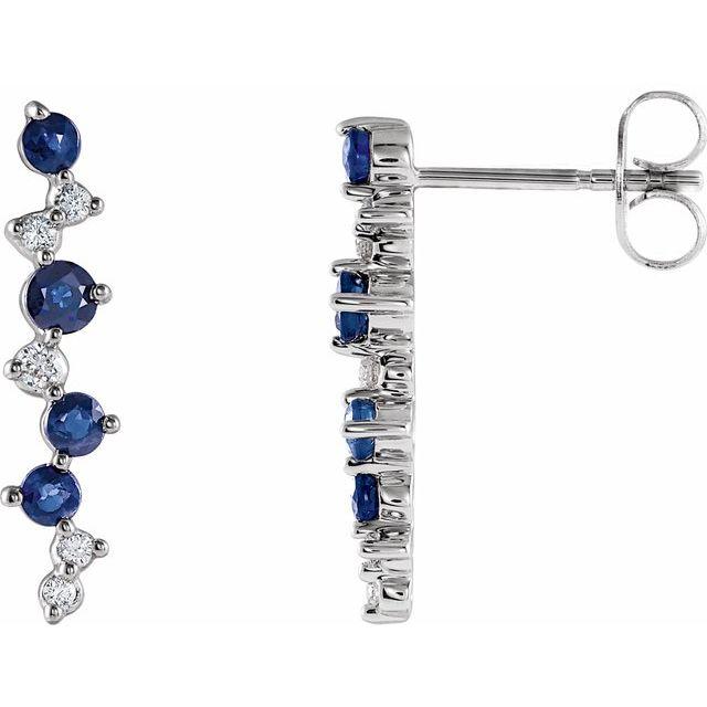 Blue Sapphire & Diamond Earrings