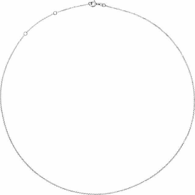 Rhodium-Plated Sterling Silver 1 mm Adjustable Diamond-Cut Cable 16-18