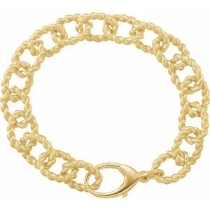 "Gold Plated Sterling Silver 10.75 mm Rope Design Link 7 1/2"" Bracelet"