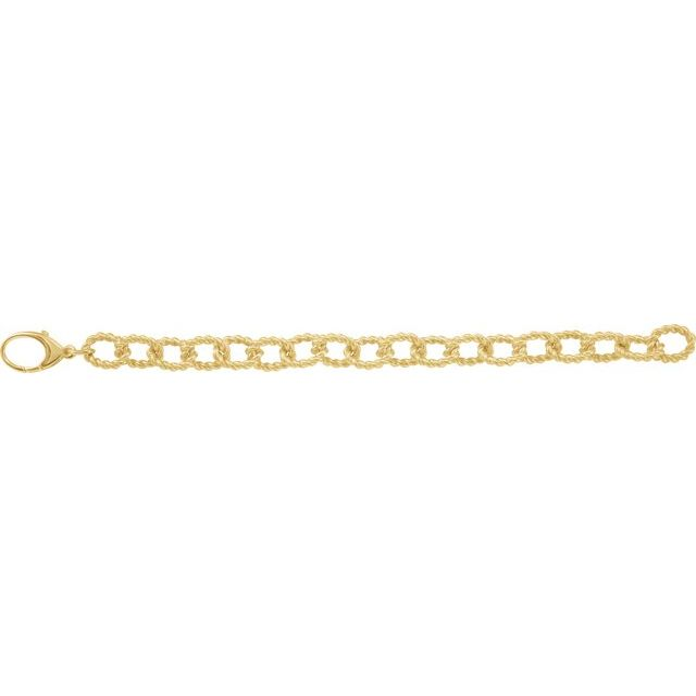 Gold Plated Sterling Silver 10.75 mm Rope Design Link 7 1/2